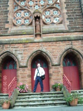 In front of theSaint Augustine Church in Coatbridge