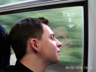 Elder Augustine on the train to Glasgow