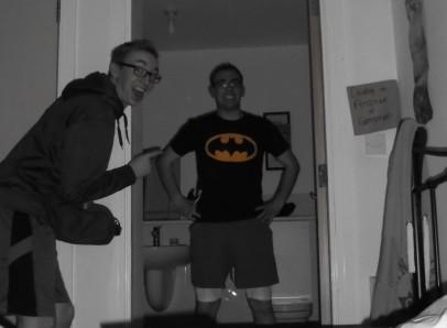 Elder Ritchie and Elder Wall showing off his Bateman shirt
