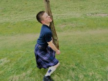 Elder Peterson getting ready to toss the caber