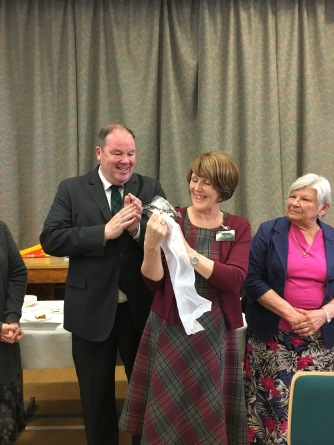 Mission Office Staff gave a gift to President & Sister Donaldson. Photo courtesy of Sister Rose Milne